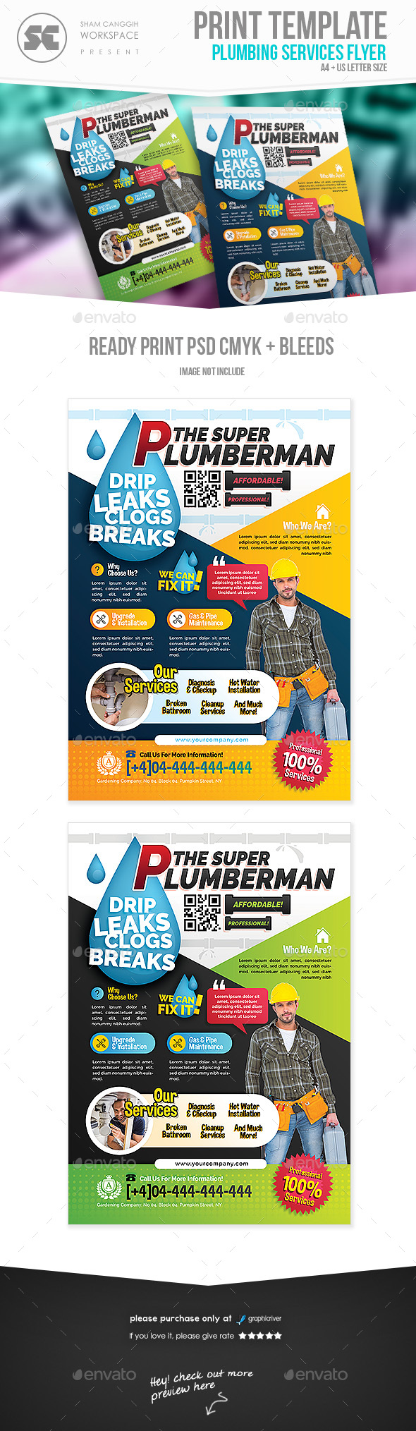 GraphicRiver Plumbing Service Flyer 21112304