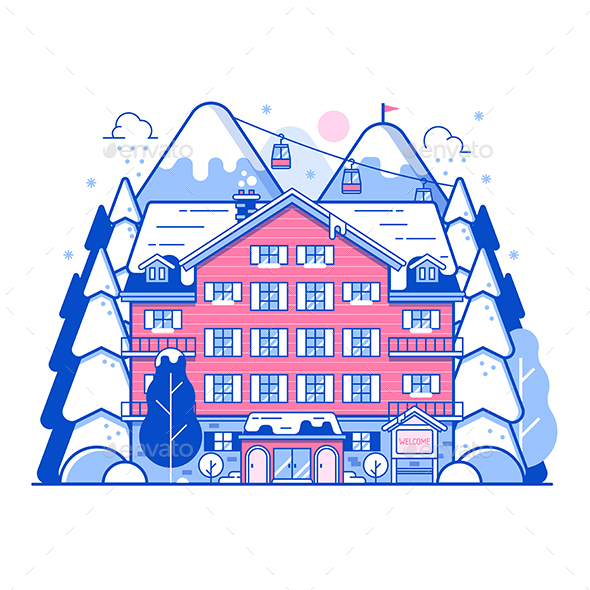 Winter Ski Resort Monoline Landscape - Vectors