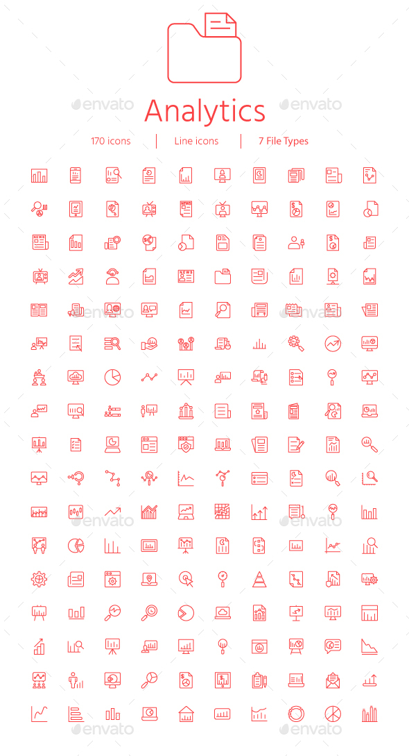 GraphicRiver Reports and Analytics Thin line icons 21112892