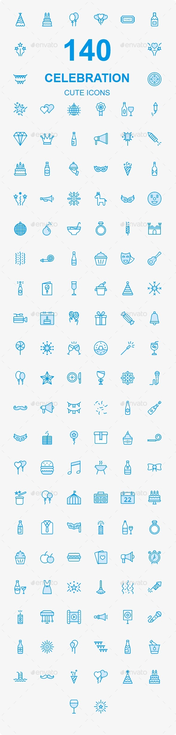 GraphicRiver Party & Celebration Cute icons 21112923