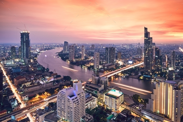 Bangkok during golden sunset - Stock Photo - Images