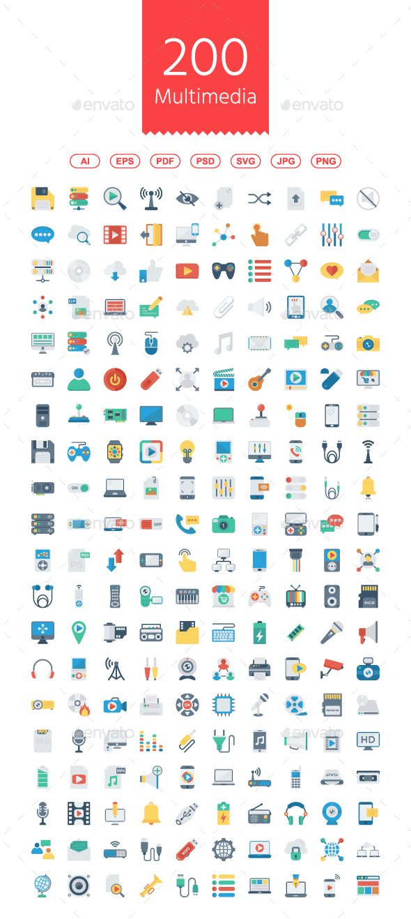GraphicRiver 200 Multimedia Flat Icons 21113244