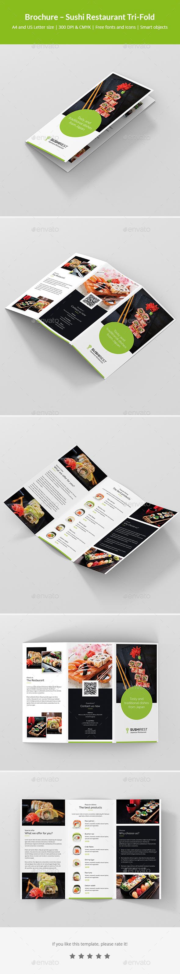 GraphicRiver Brochure Sushi Restaurant Tri-Fold 21113269