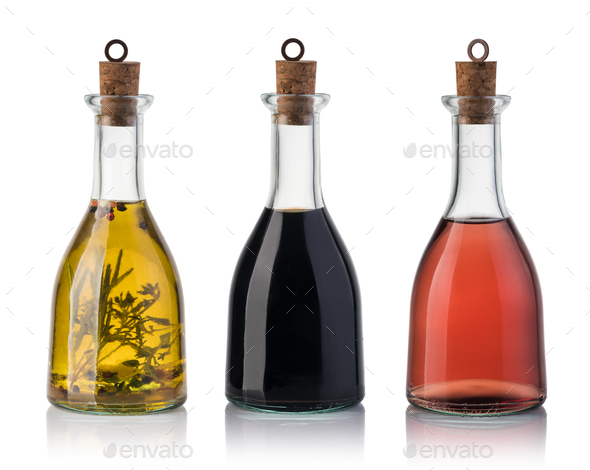 Bottle of olive oil and vinegar - Stock Photo - Images