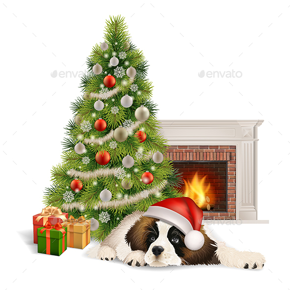 GraphicRiver Christmas Tree Dog Fireplace 21113346