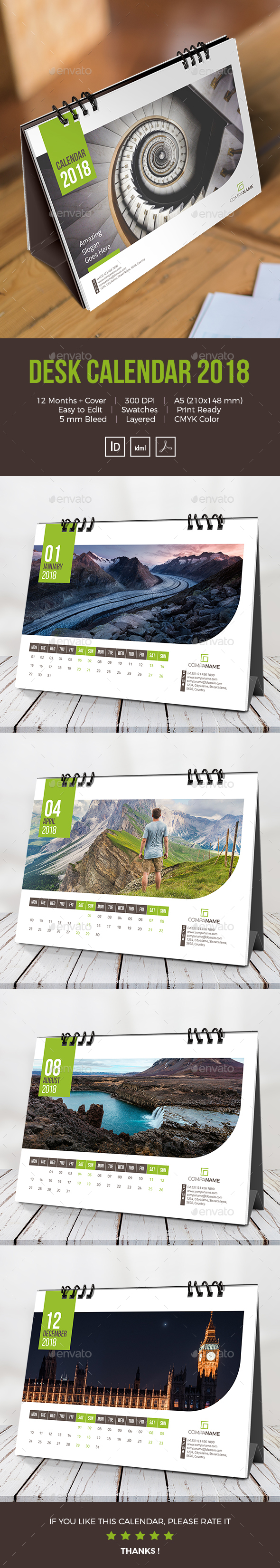GraphicRiver Desk Calendar 2018 21113805