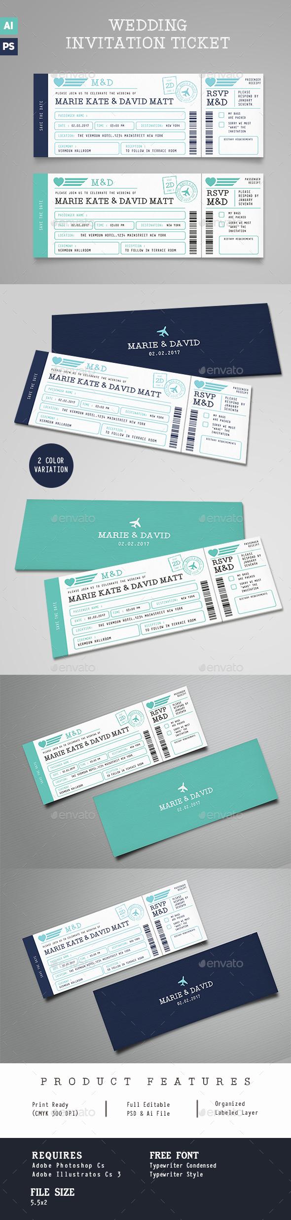 Boarding Pass Wedding Invitation Ticket - Wedding Greeting Cards