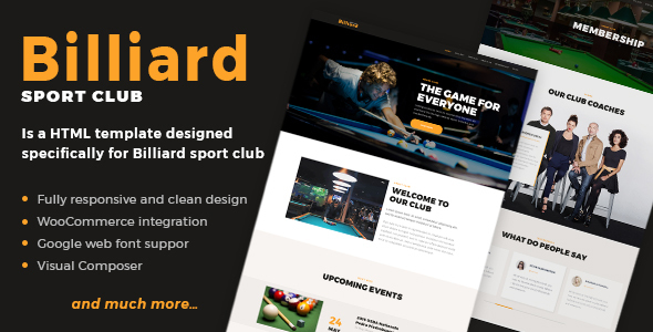 Billiard - Creative Sporting  WordPress Theme