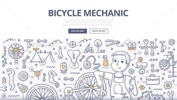 GraphicRiver Bicycle Mechanic Doodle Concept 21114175
