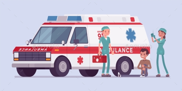 GraphicRiver Doctors Near the Ambulance Car 21114198