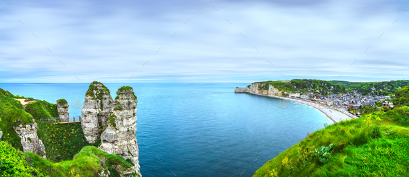 Etretat village and bay beach. Aerial view from the cliff. Norma - Stock Photo - Images