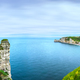 Etretat village and bay beach. Aerial view from the cliff. Norma - PhotoDune Item for Sale