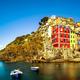 Riomaggiore village, rocks and sea at sunset. Cinque Terre, Ligu - PhotoDune Item for Sale