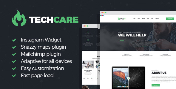 Image of TechCare - Electronics Repair WordPress Theme