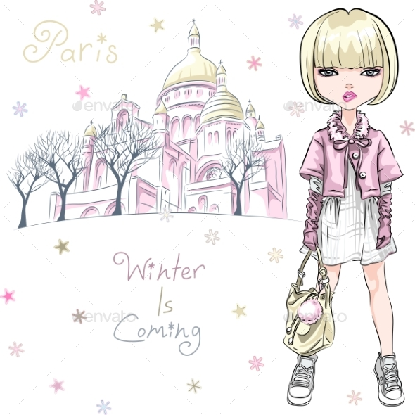 GraphicRiver Vector Fashion Girl in Winter Clothes in Paris 21114357