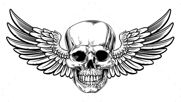 GraphicRiver Winged Skull Vintage Woodcut Etched Style 21114392