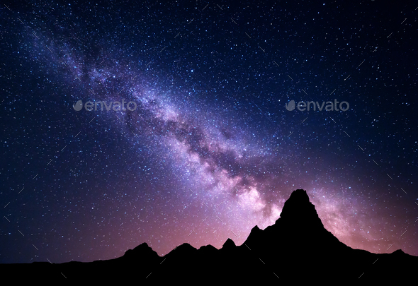 Night landscape with colorful Milky Way and mountain peak - Stock Photo - Images
