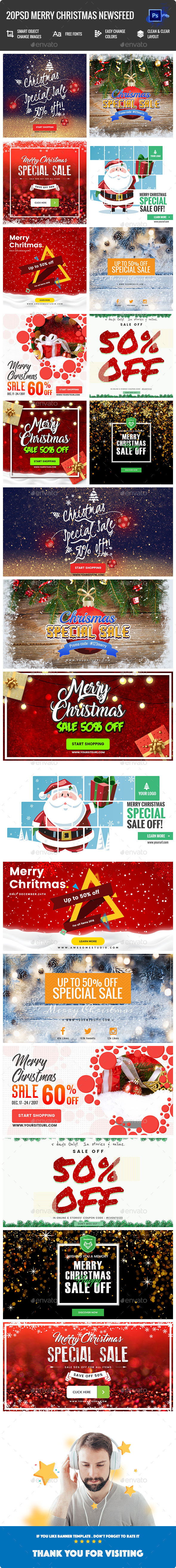 Merry Christmas NewsFeed Banners Ad - 20PSD - Banners & Ads Web Elements