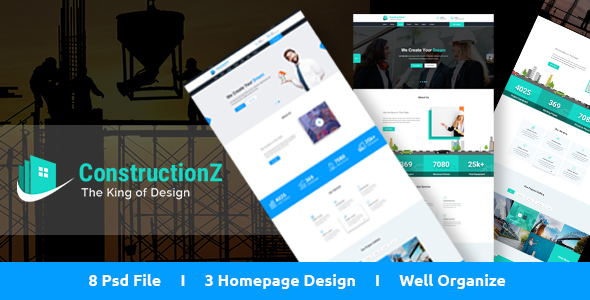 ConstructionZ - Construction PSD Template - PSD Templates