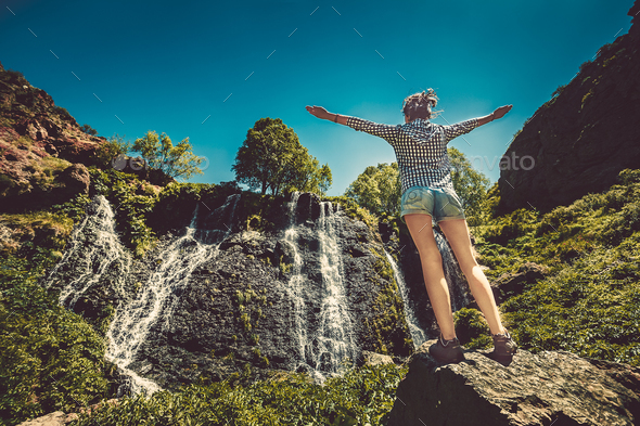 waterfall with blue sky - Stock Photo - Images
