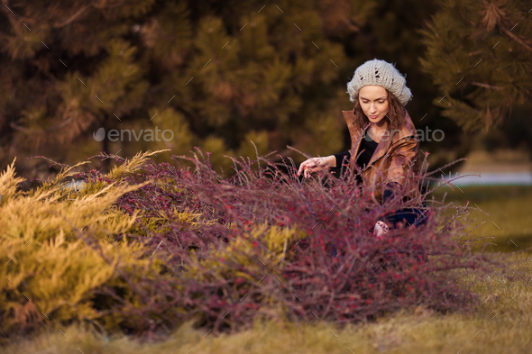 girl in autumn park - Stock Photo - Images