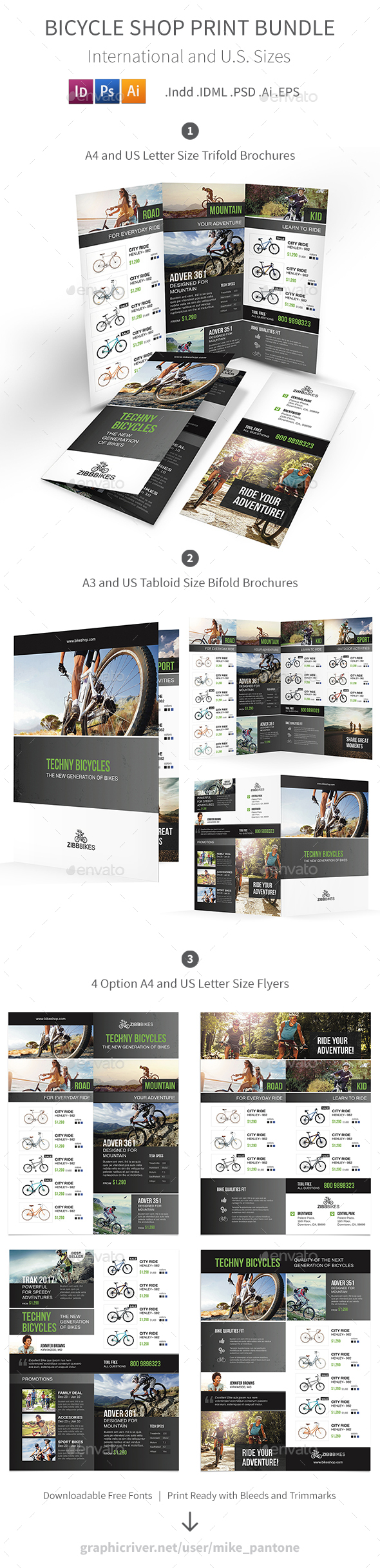GraphicRiver Bicycle Shop Print Bundle 21114985
