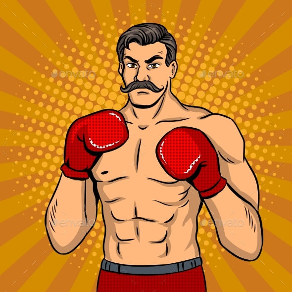 GraphicRiver Vintage Boxer Fighter with Mustache Pop Art Vector 21114986