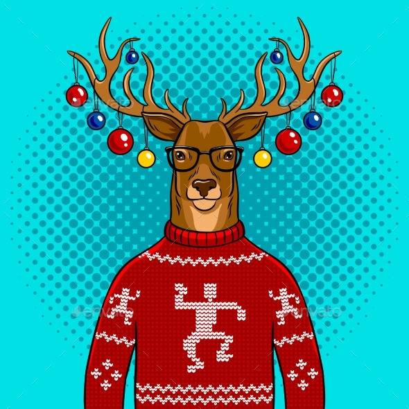 GraphicRiver Christmas Deer with Toys Pop Art Vector 21114991