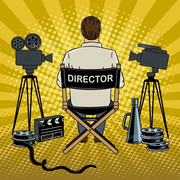 Stage Director on Set Pop Art Vector Illustration - Miscellaneous Vectors