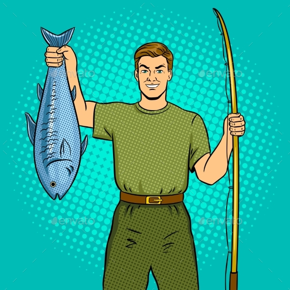 Fisherman with Fishing Rod and Fish Pop Art Vector - Sports/Activity Conceptual