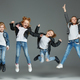 Young girl jumping at studio - PhotoDune Item for Sale