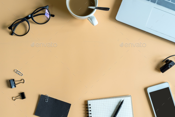 Laptop, notebook, smart phone with cup of coffee and copy space - Stock Photo - Images