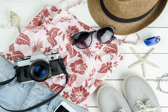 Fashion summer women clothes set with accessories - Stock Photo - Images