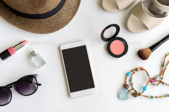 Woman stuff, makeup, cellphone and accessories with copy space - Stock Photo - Images