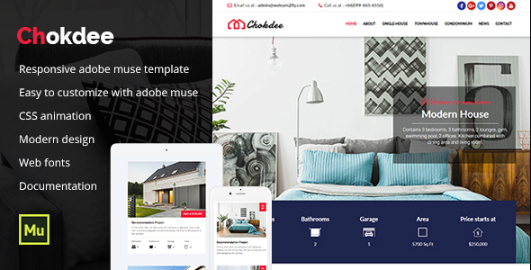 ThemeForest Chokdee Responsive Real Estate Muse Template 21115632