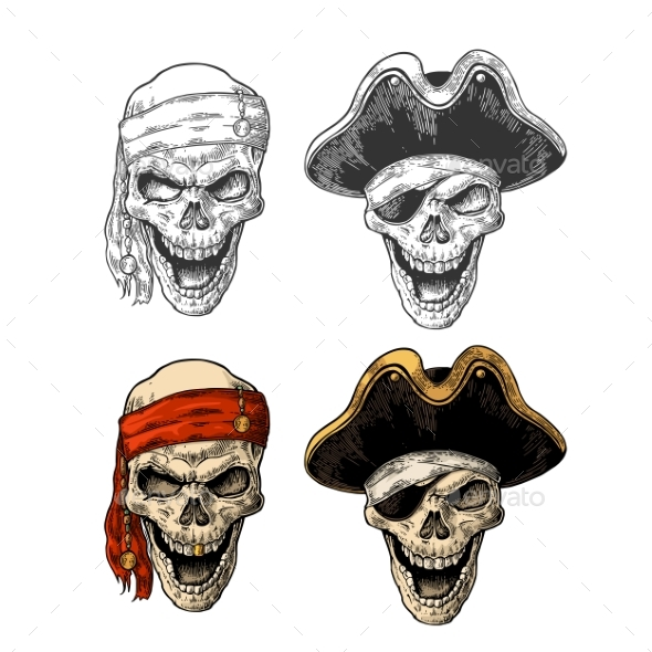 GraphicRiver Skull Pirate with Clothes Eye Patch 21115638