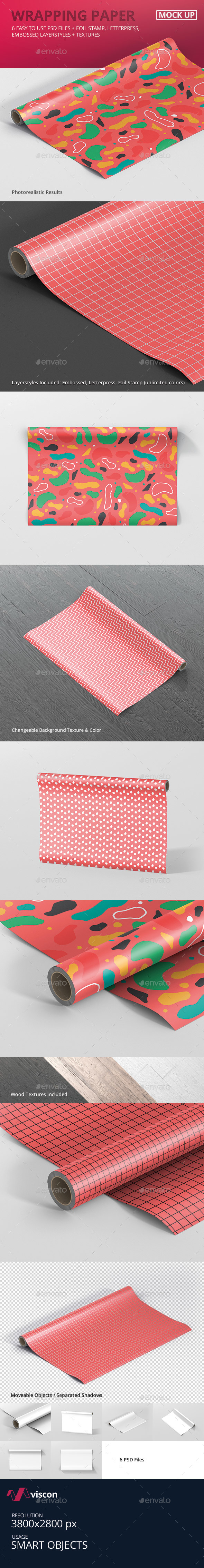 GraphicRiver Gift Wrapping Paper Mockup 21115653