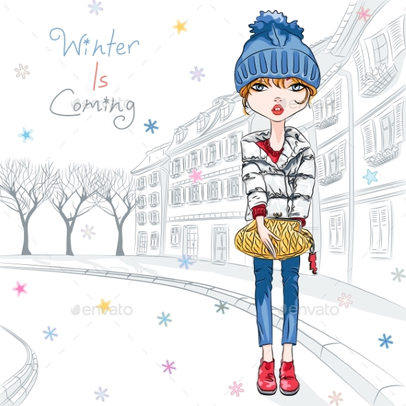 Vector Fashion Girl in Winter Clothes in Old Town - Miscellaneous Vectors