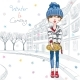 Vector Fashion Girl in Winter Clothes in Old Town - GraphicRiver Item for Sale
