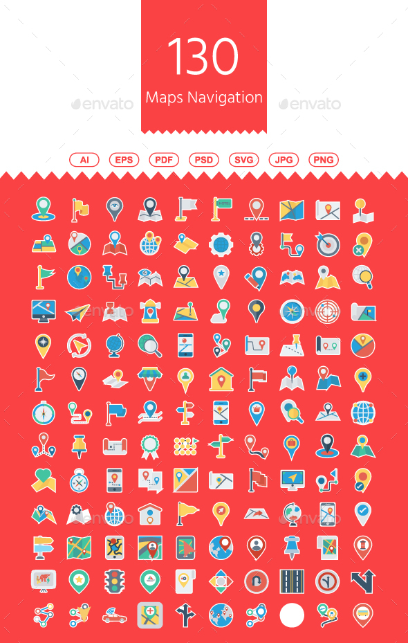 GraphicRiver 130 Maps and Navigation Flat Paper icons 21115746