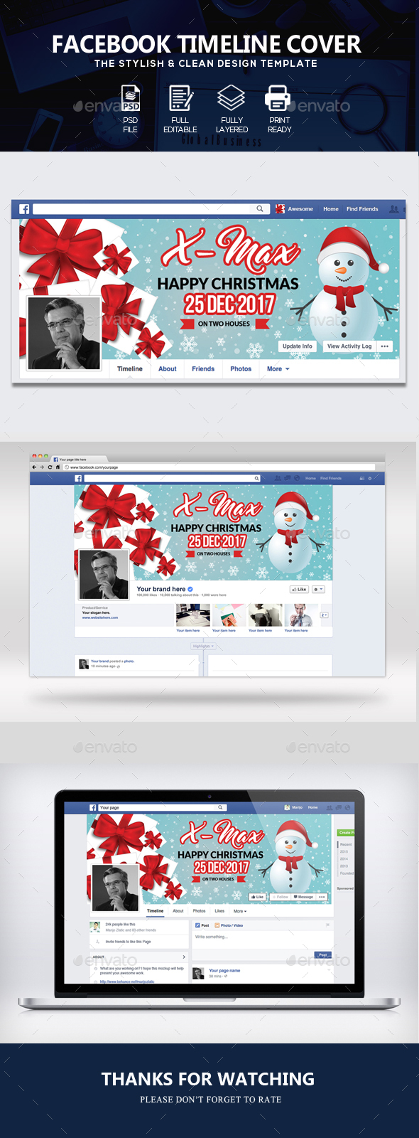 GraphicRiver Christmas Facebook Timeline Cover 21115839
