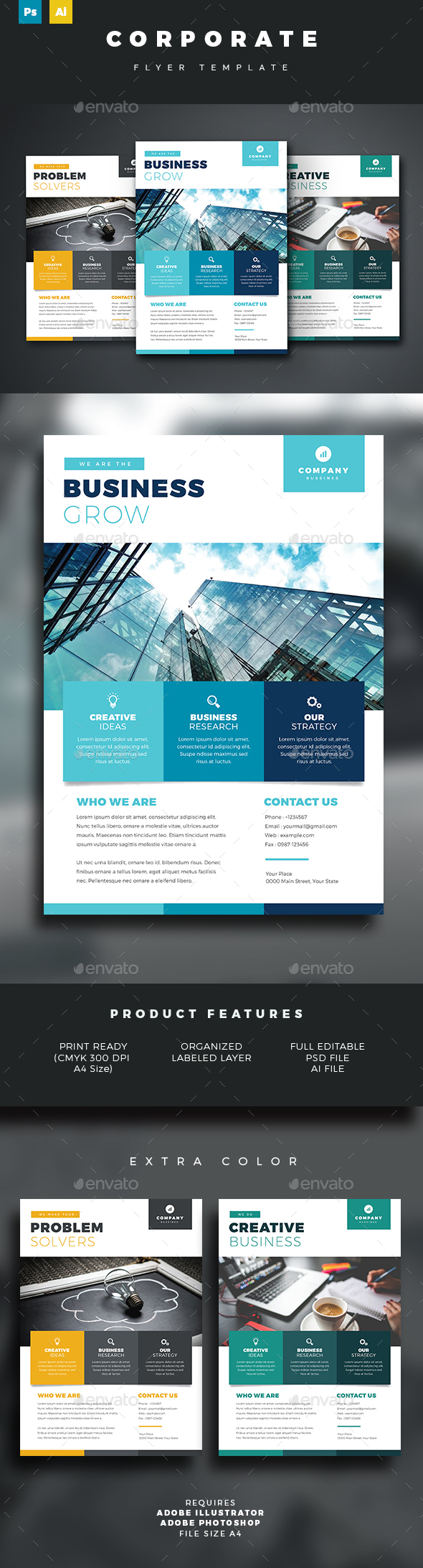 Corporate Flyer Template - Corporate Business Cards