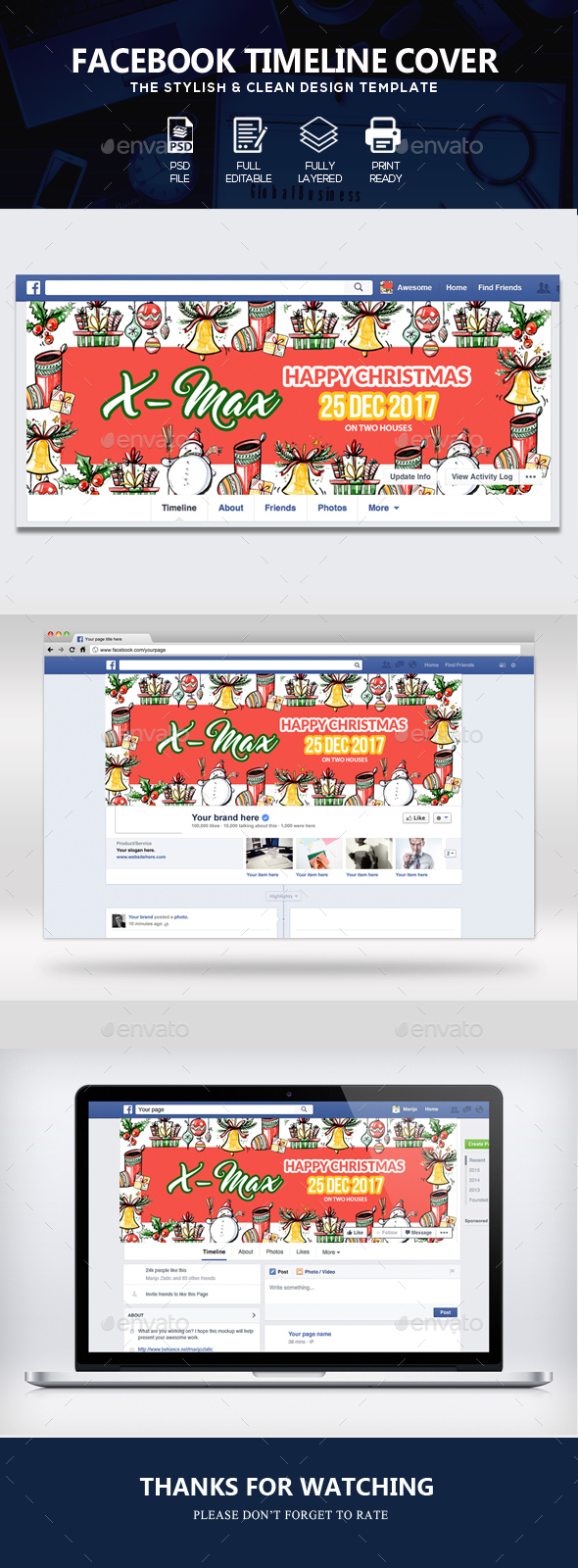 GraphicRiver Christmas Facebook Timeline Cover 21116004