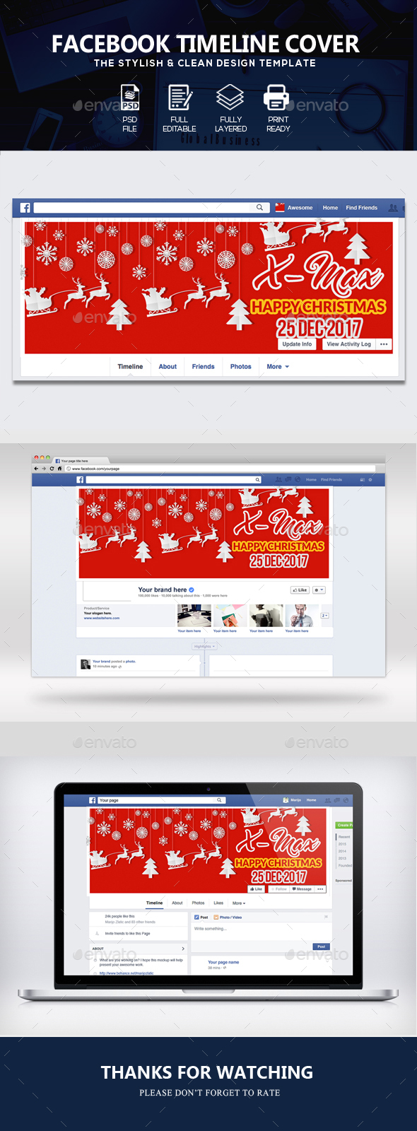 GraphicRiver Christmas Facebook Timeline Cover 21116064