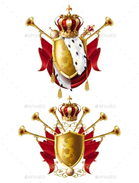 Royal Golden Crown Emblems - Miscellaneous Vectors