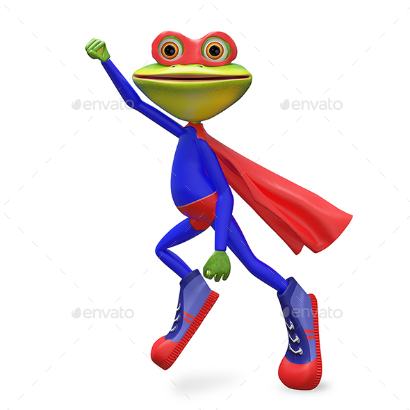 3D Illustration Merry Super Frog - Characters 3D Renders