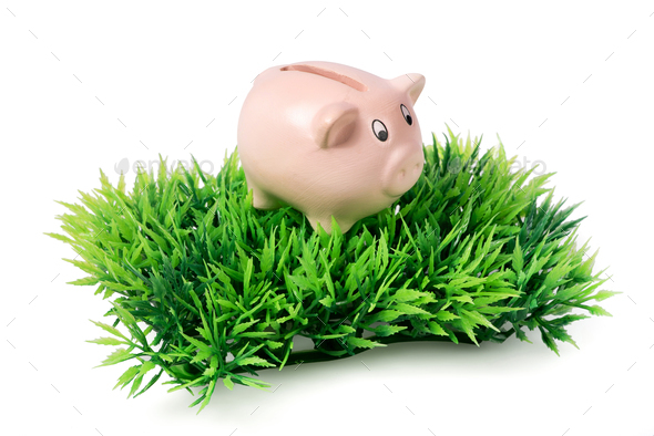 Small pink piggy bank on green plastic grass - Stock Photo - Images