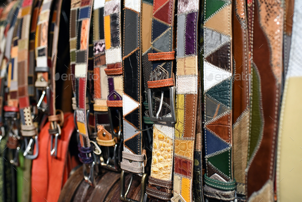 Assorted patterned handcrafted leather belts - Stock Photo - Images