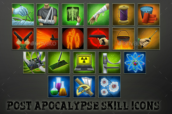 GraphicRiver 20 Post-Apocalyptic Skill Icons 21116188