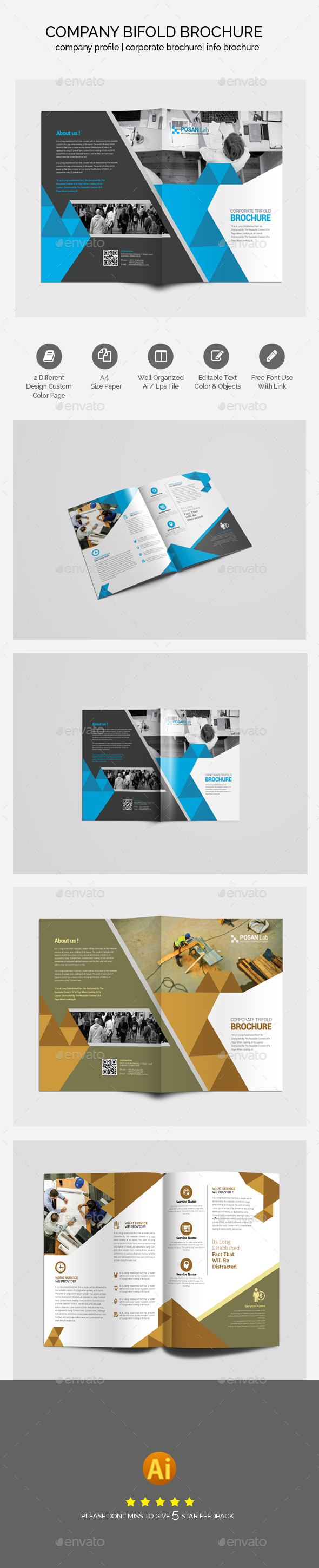 Professional Bifold Business Brochure Template - Brochures Print Templates